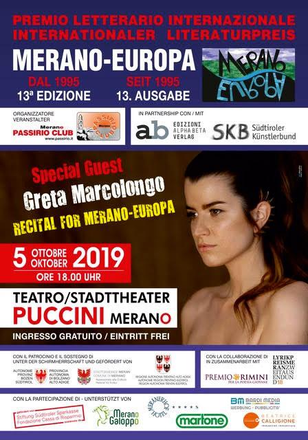 Greta Marcolongo recital in occasione della premiazione del concorso merano europa 2019